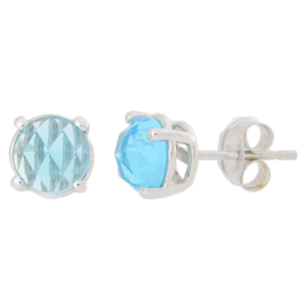 2 Ct Aquamarine Checkerboard Round Stud Earrings .925 Sterling Silver