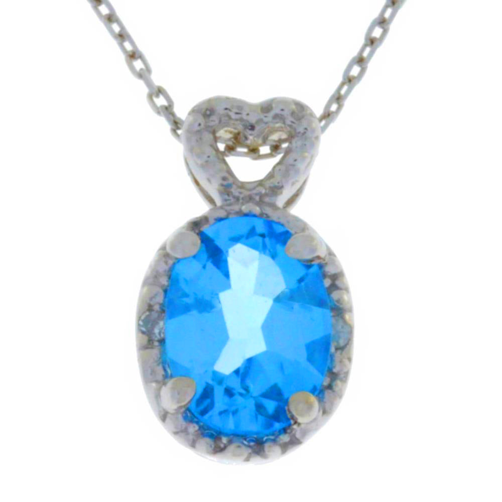 1.5 Ct Blue Topaz & Diamond Oval Heart Pendant .925 Sterling Silver Rhodium Finish