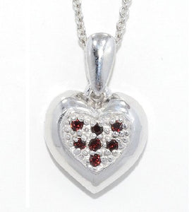 Garnet Always & Forever Engraved Heart Pendant .925 Sterling Silver Rhodium Finish