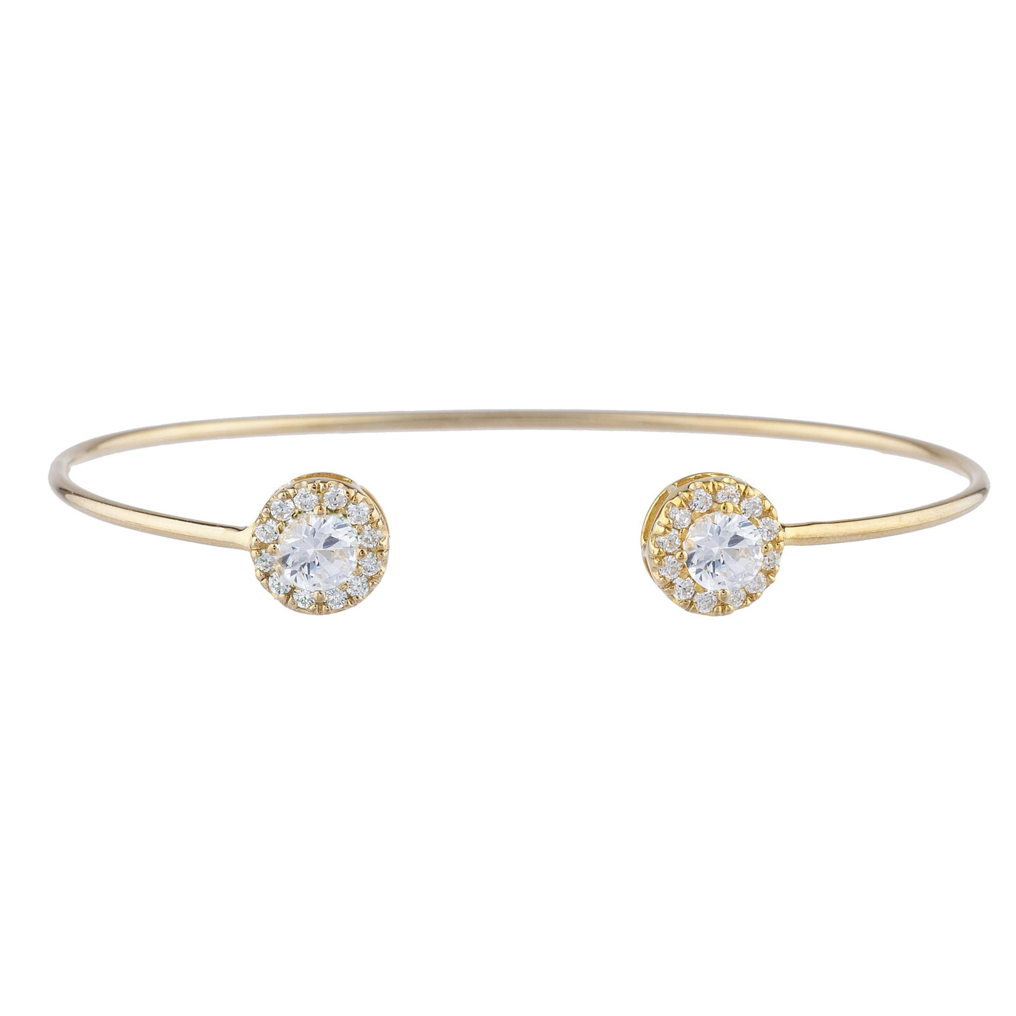 14Kt Gold Zirconia Halo Design Bangle Bracelet