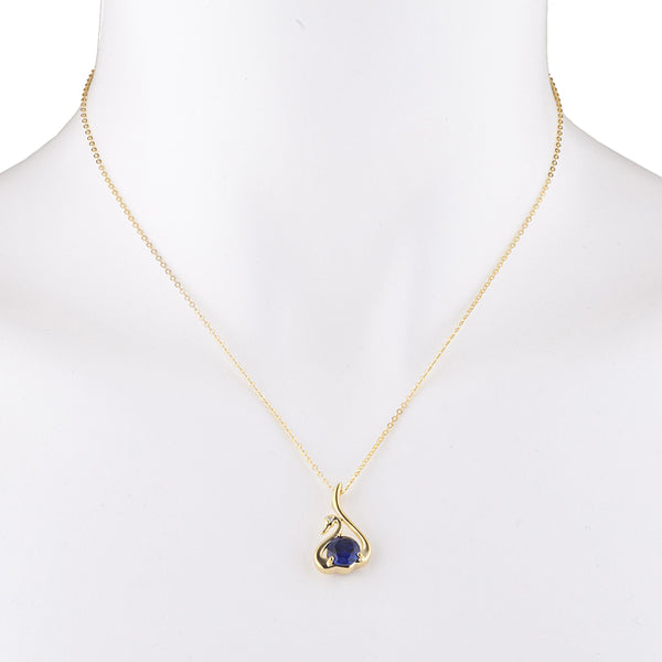 14Kt Yellow Gold Plated Blue Sapphire & Diamond Swan Pendant