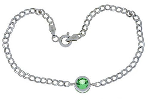 1 Ct Green Sapphire Round Bezel Bracelet .925 Sterling Silver Rhodium Finish