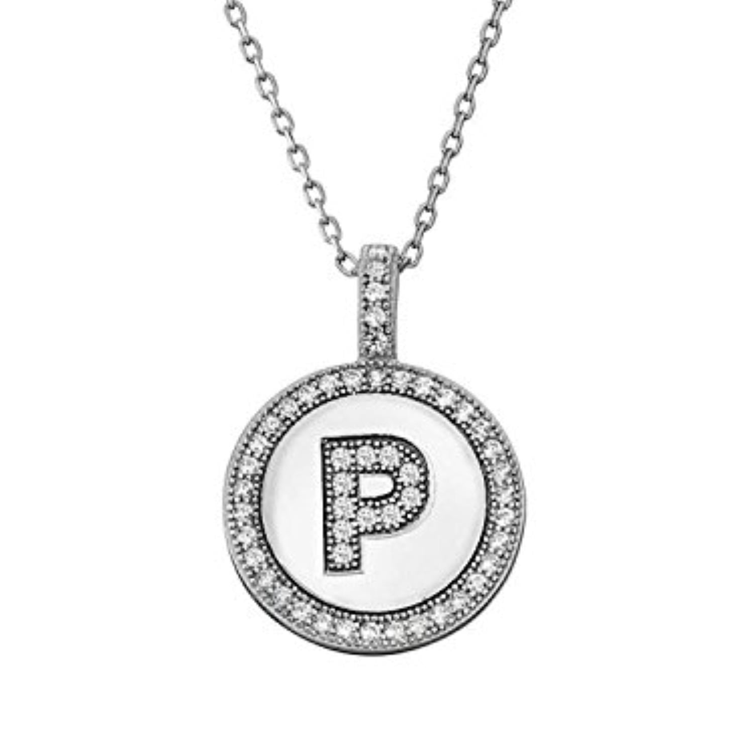 Letter P Micro Pave Initial CZ Pendant .925 Sterling Silver