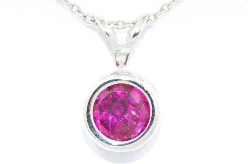 1 Carat Created Ruby Round Bezel Pendant .925 Sterling Silver Rhodium Finish
