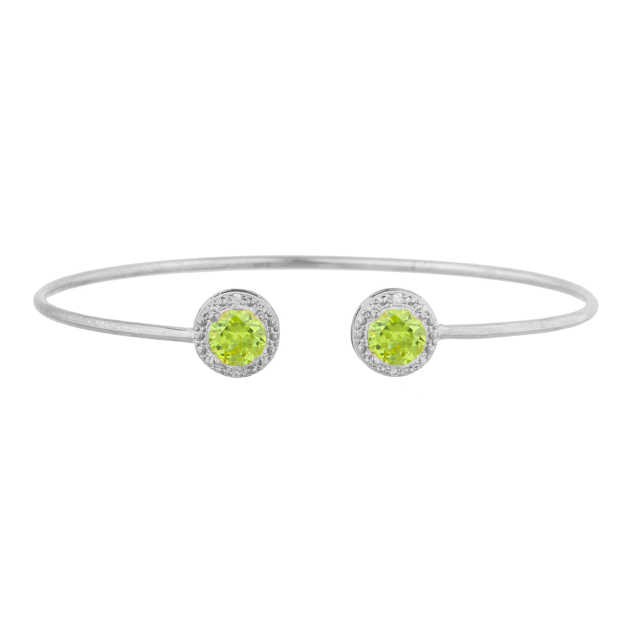 2 Ct Peridot & Diamond Round Bangle Bracelet .925 Sterling Silver