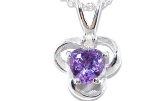 0.50 Carat Alexandrite Heart Diamond Pendant .925 Sterling Silver Rhodium Finish
