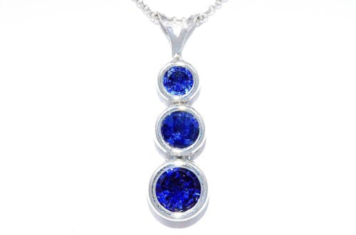 3 Blue Sapphire Round Bezel Pendant .925 Sterling Silver Rhodium Finish