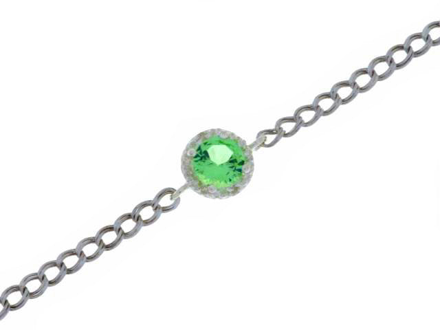 1 Ct Green Sapphire & Diamond Round Bracelet .925 Sterling Silver