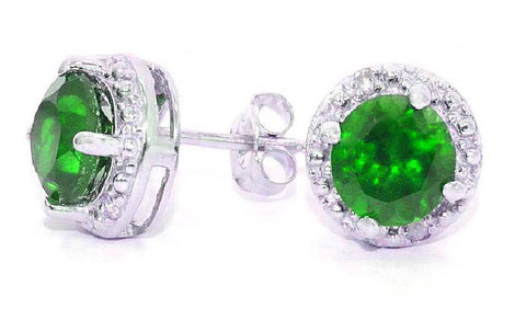 2 Ct Emerald & Diamond Round Stud Earrings .925 Sterling Silver