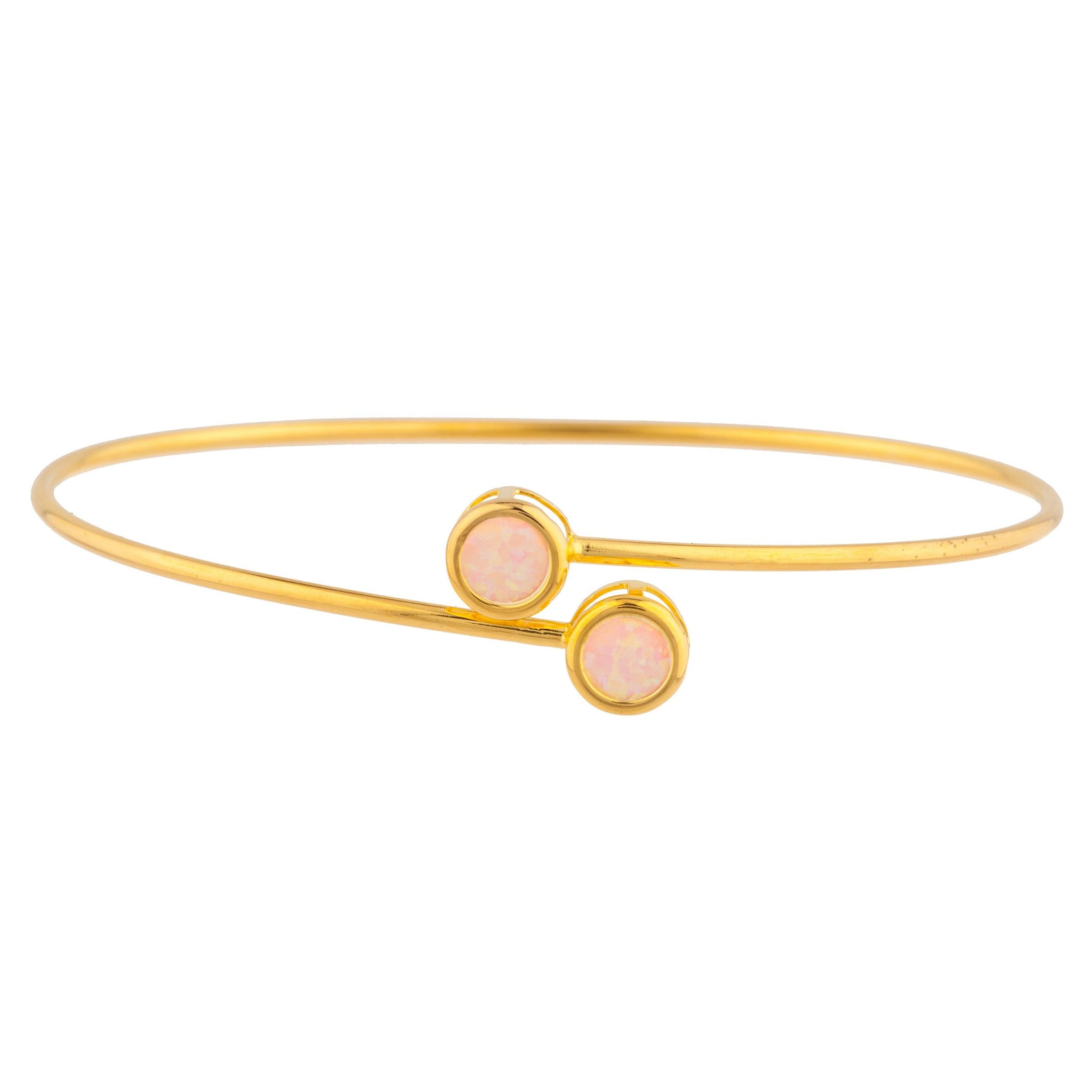14Kt Yellow Gold Plated Pink Opal Round Bezel Bangle Bracelet