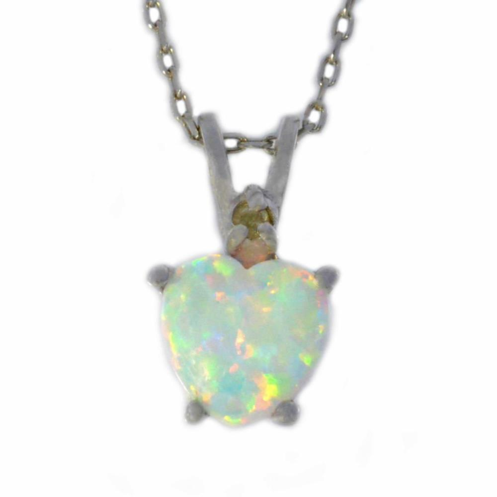 6mm Opal & Diamond Heart Pendant .925 Sterling Silver Rhodium Finish