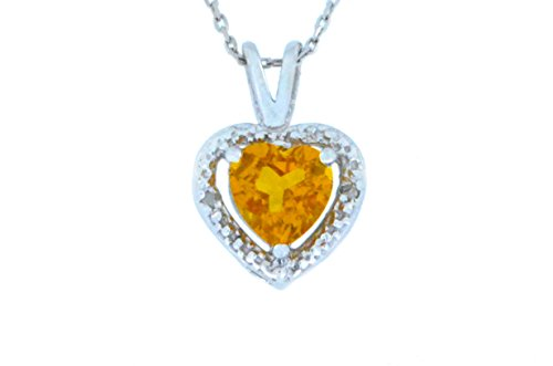 1 Ct Citrine & Diamond Heart Pendant .925 Sterling Silver Rhodium Finish