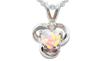 Pink Opal Heart Diamond Pendant .925 Sterling Silver Rhodium Finish