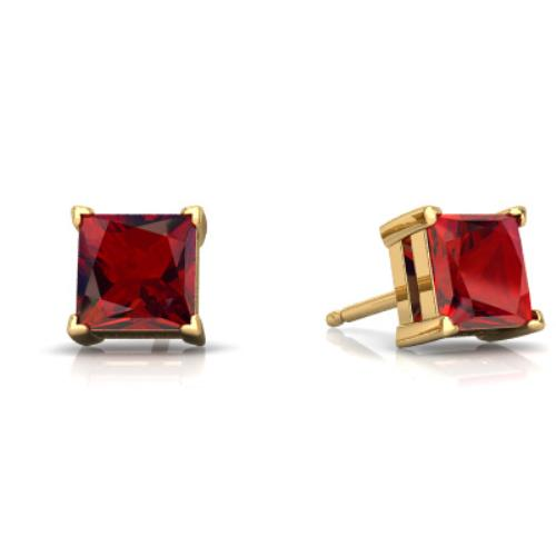 14Kt Yellow Gold Garnet Princess Cut Stud Earrings