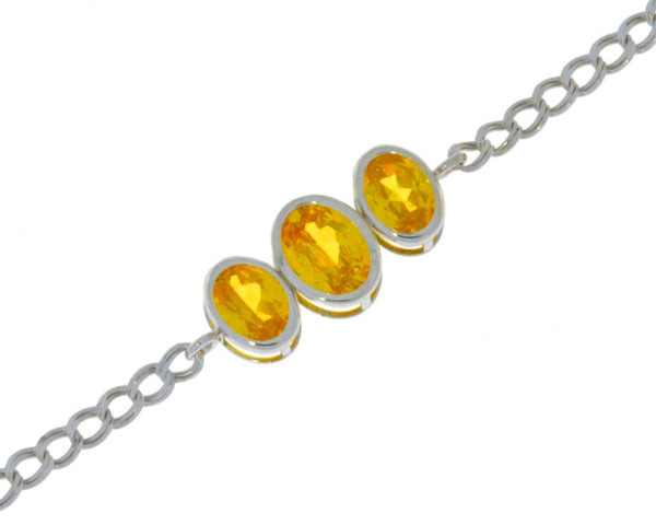 3.5 Ct Yellow Citrine Oval Bezel Bracelet .925 Sterling Silver Rhodium Finish