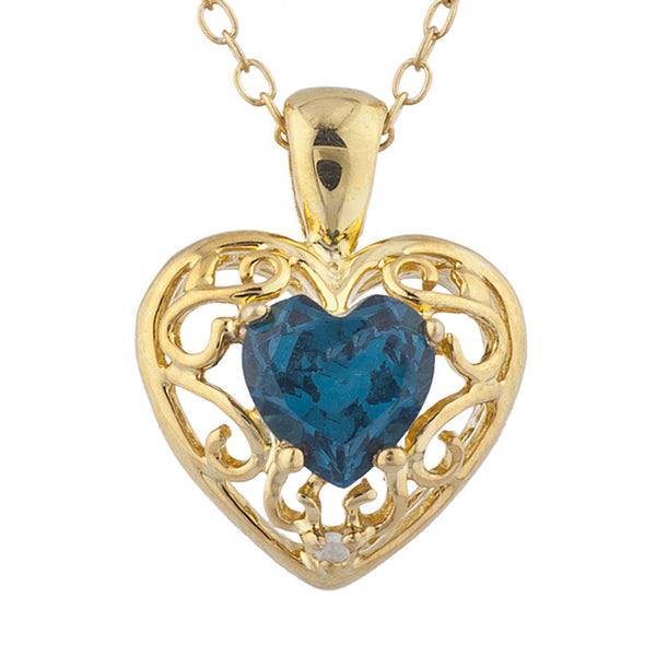 14Kt Yellow Gold Plated London Blue Topaz & Diamond Love Design Heart Pendant