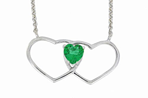 1 Ct Created Emerald Double Heart Pendant .925 Sterling Silver Rhodium Finish