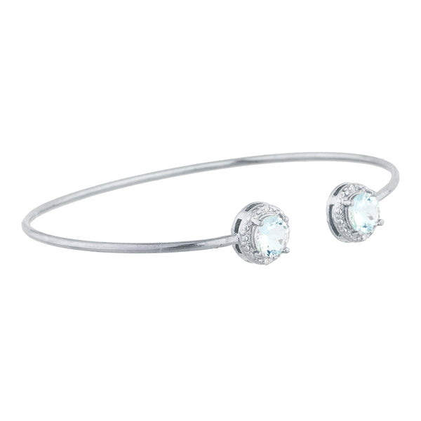 2 Ct Aquamarine & Diamond Round Bangle Bracelet .925 Sterling Silver