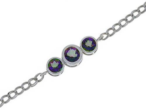 2 Ct Natural Mystic Topaz Round Bezel Bracelet .925 Sterling Silver Rhodium Finish