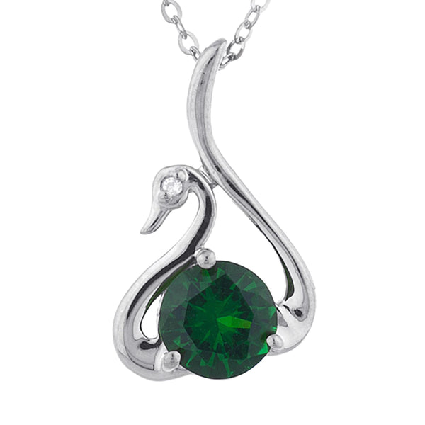 Emerald & Diamond Swan Pendant .925 Sterling Silver
