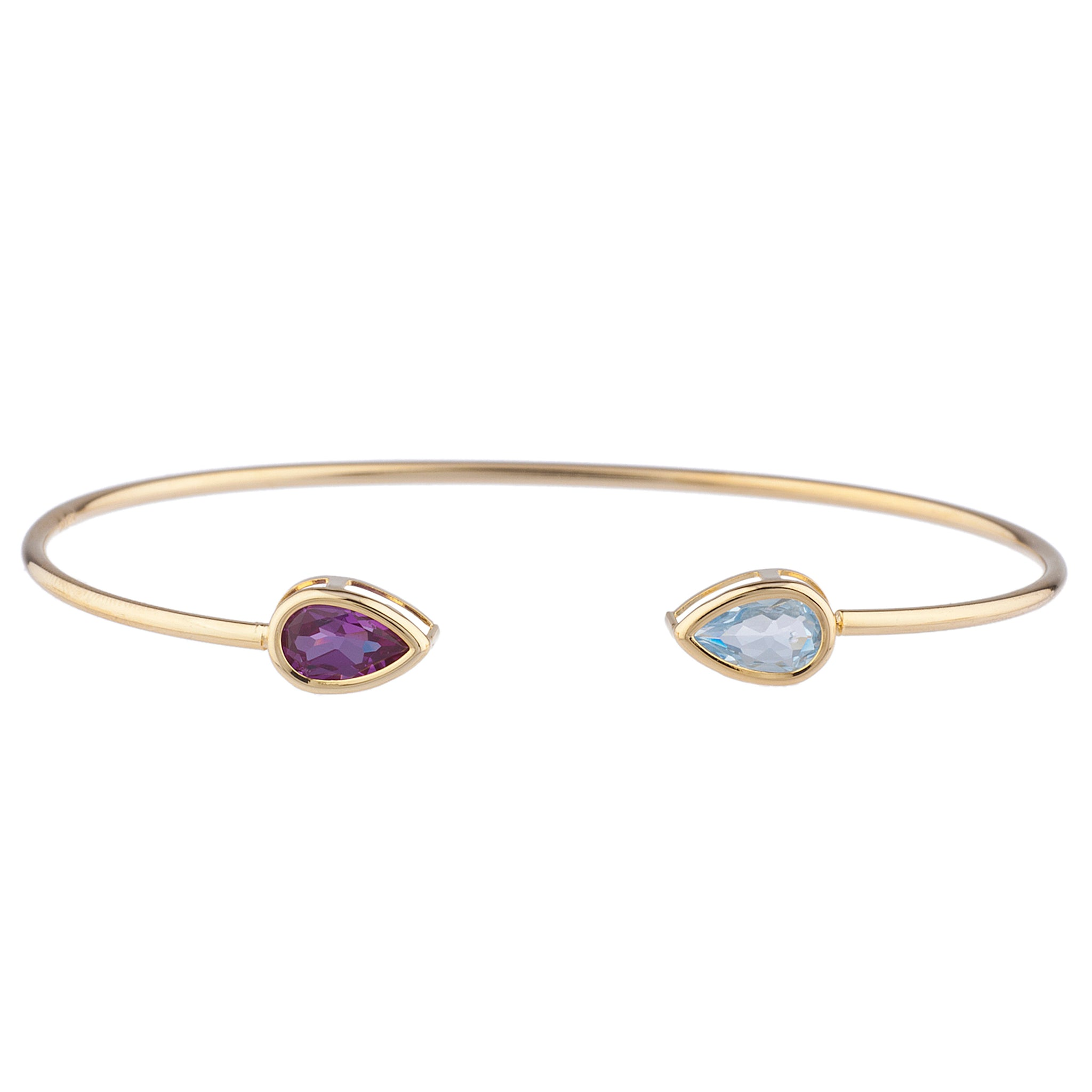 Genuine Aquamarine & Amethyst Pear Bezel Bangle Bracelet 14Kt Yellow Gold Plated Over .925 Sterling Silver