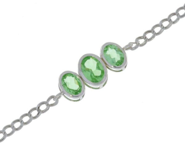 3.5 Ct Green Sapphire Oval Bezel Bracelet .925 Sterling Silver Rhodium Finish