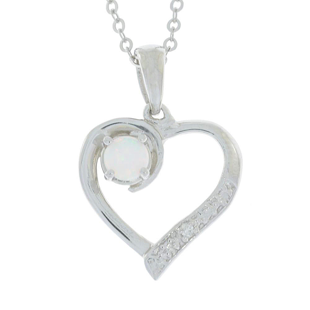 Genuine Opal & Diamond Heart Pendant .925 Sterling Silver Rhodium Finish