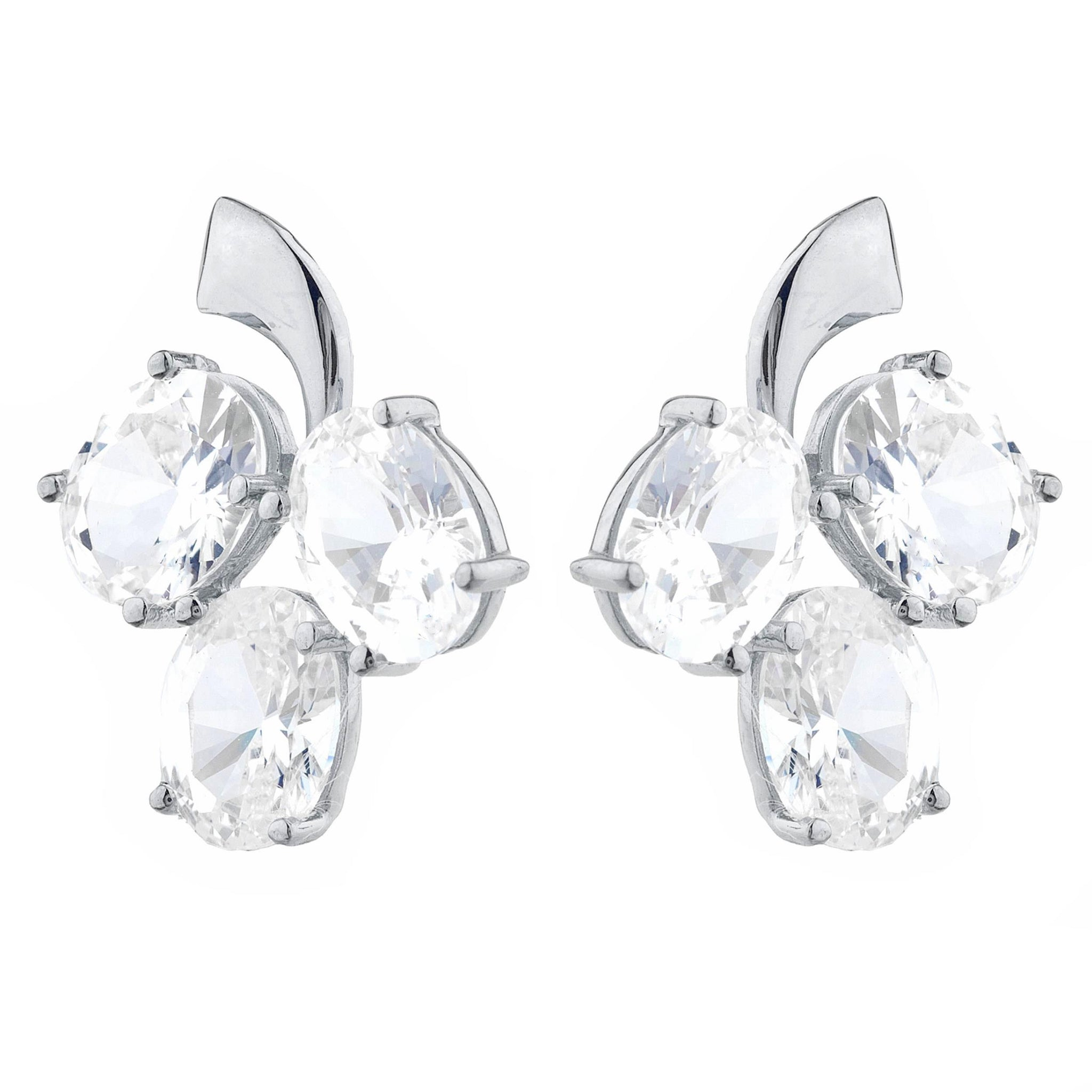 9 Ct Cubic Zirconia Oval Design Stud Earrings .925 Sterling Silver