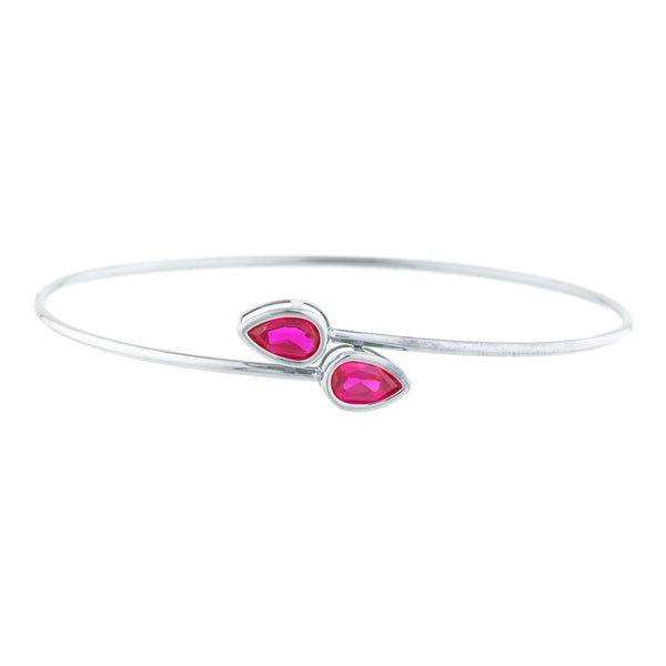2 Ct Created Ruby Pear Bezel Bangle Bracelet .925 Sterling Silver