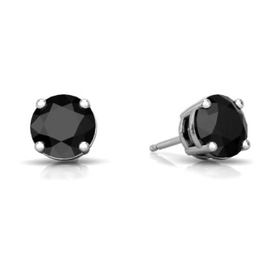 2 Ct Black Onyx Round Stud Earrings 14Kt White Gold