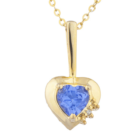 14Kt Gold Tanzanite & Diamond Heart Design Pendant Necklace