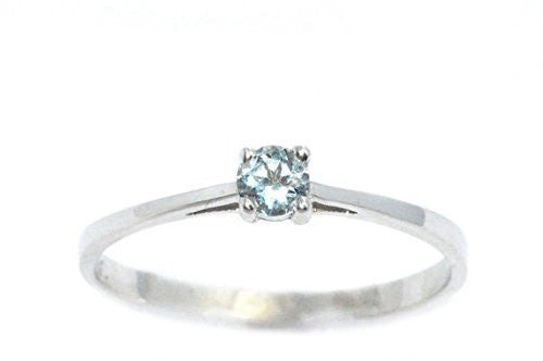 3mm Genuine Aquamarine Round Ring .925 Sterling Silver Rhodium Finish
