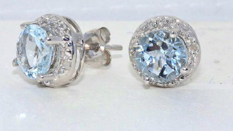Aquamarine & Diamond Round Stud Earrings .925 Sterling Silver