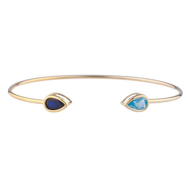 Created Blue Sapphire & Blue Topaz Pear Bezel Bangle Bracelet 14Kt Yellow Gold Plated Over .925 Sterling Silver