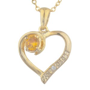14Kt Yellow Gold Plated Orange Citrine & Diamond Heart Pendant