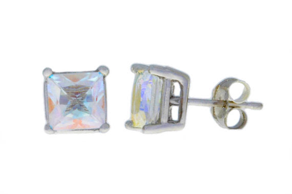 2 Ct Natural Mercury Mist Mystic Topaz Princess Cut Stud Earrings 14Kt White Gold
