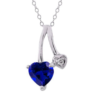 1 Ct Created Blue Sapphire Heart & Diamond Pendant .925 Sterling Silver Rhodium Finish