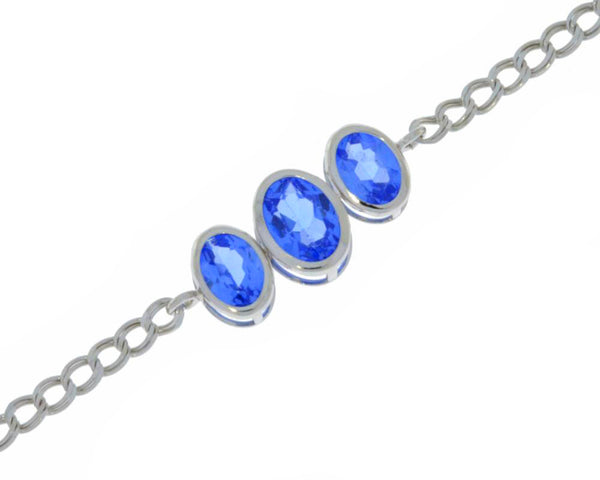 3.5 Ct Tanzanite Oval Bezel Bracelet .925 Sterling Silver Rhodium Finish