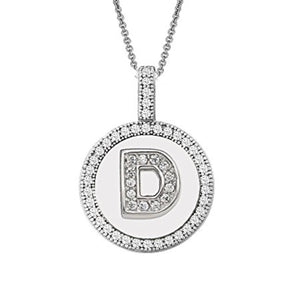 Letter D Micro Pave Initial CZ Pendant .925 Sterling Silver