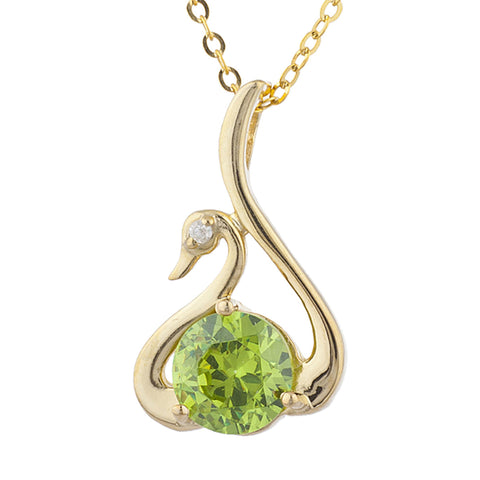 14Kt Yellow Gold Plated Peridot & Diamond Swan Pendant