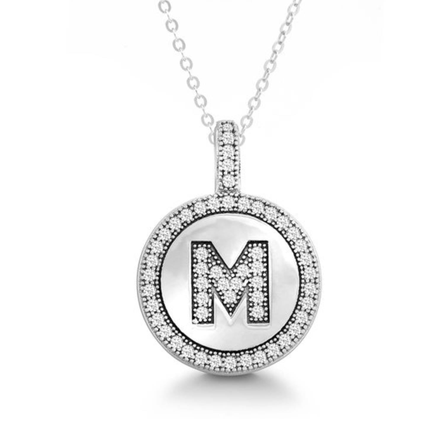 Letter M Micro Pave Initial CZ Pendant .925 Sterling Silver