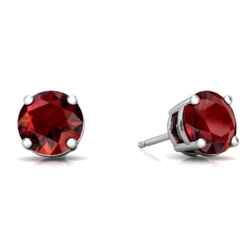 2 Ct Garnet Round Stud Earrings .925 Sterling Silver Rhodium Finish