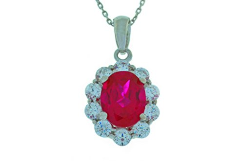 4 Ct Created Ruby & White Topaz Oval Pendant .925 Sterling Silver Rhodium Finish