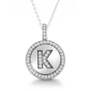 Letter K Micro Pave Initial CZ Pendant .925 Sterling Silver