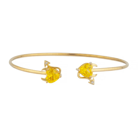 Yellow Citrine & Diamond Devil Heart Bangle Bracelet 14Kt Yellow Gold Rose Gold Silver