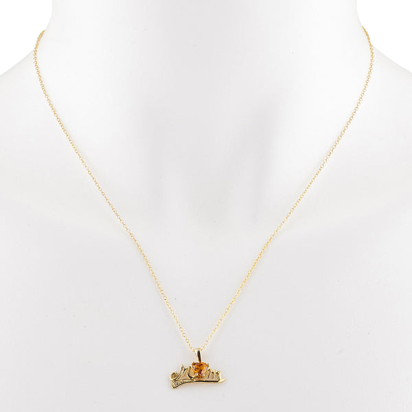 14Kt Yellow Gold Plated Orange Citrine & Diamond Heart Mom Pendant