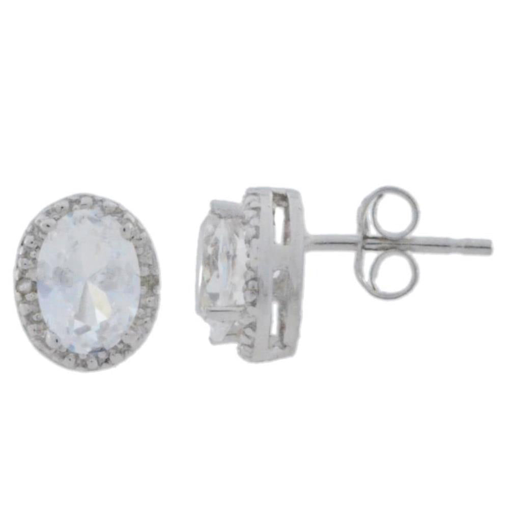 2 Ct White Sapphire & Diamond Oval Stud Earrings .925 Sterling Silver