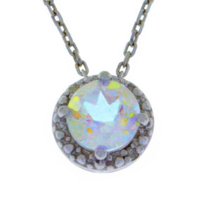 1 Ct Mercury Mist Mystic Topaz & Diamond Round Pendant .925 Sterling Silver Rhodium Finish
