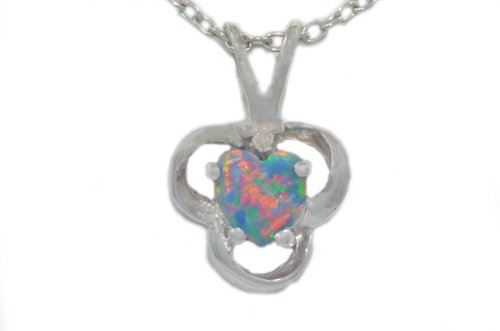Black Opal Heart Diamond Pendant .925 Sterling Silver Rhodium Finish