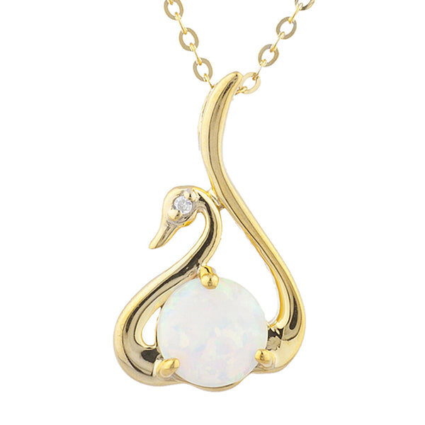 14Kt Yellow Gold Plated Opal & Diamond Swan Pendant